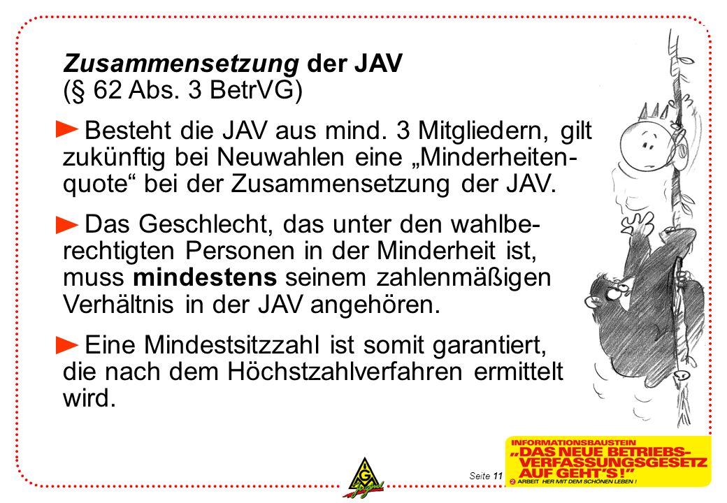 Seite 12 Vereinfachung des Wahlverfahrens (§ 63 i.V.m § 14a BetrVG u.a.) Die Anwendung erfolgt bei 5 – 50 wahl- berechtigten Azubis und Jugendlichen.