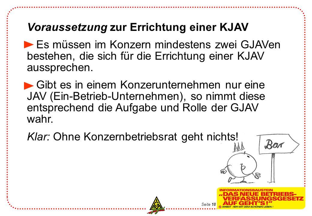 Seite 19 Beschluss zur Errichtung einer KJAV Vorraussetzung dafür sind die selbstständigen Beschlüsse der GJAVen.