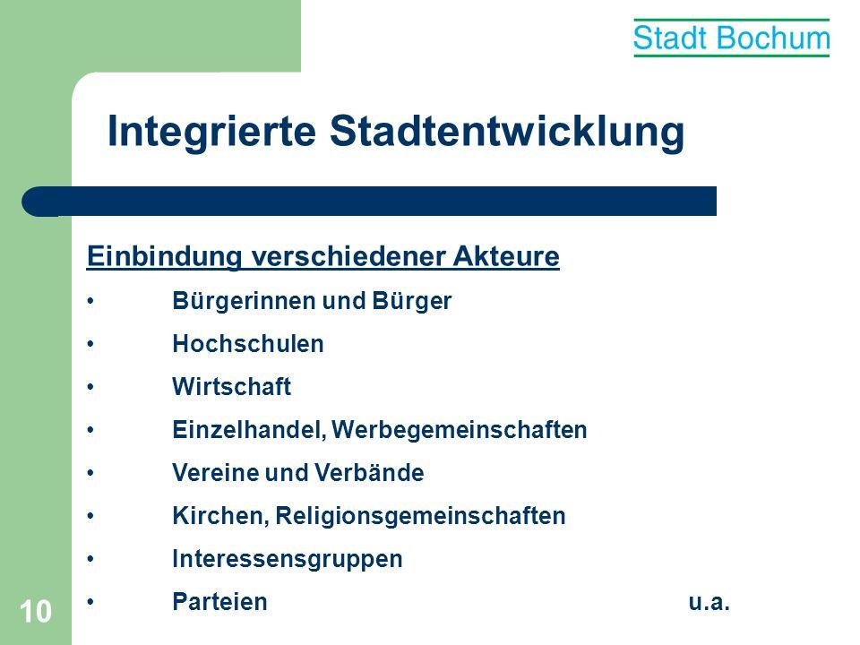 11 Integrierte Stadtentwicklung Fakten: Wohnungsmarkt Der Wohnungsmarktbericht 2005 zeigt einen entspannten Wohnungsmarkt in Bochum.