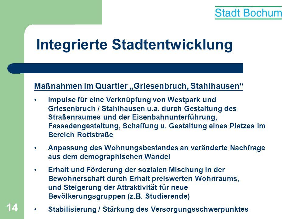 15 Integrierte Stadtentwicklung Maßnahmen im Quartier Griesenbruch, Stahlhausen Verbesserung des Images u.