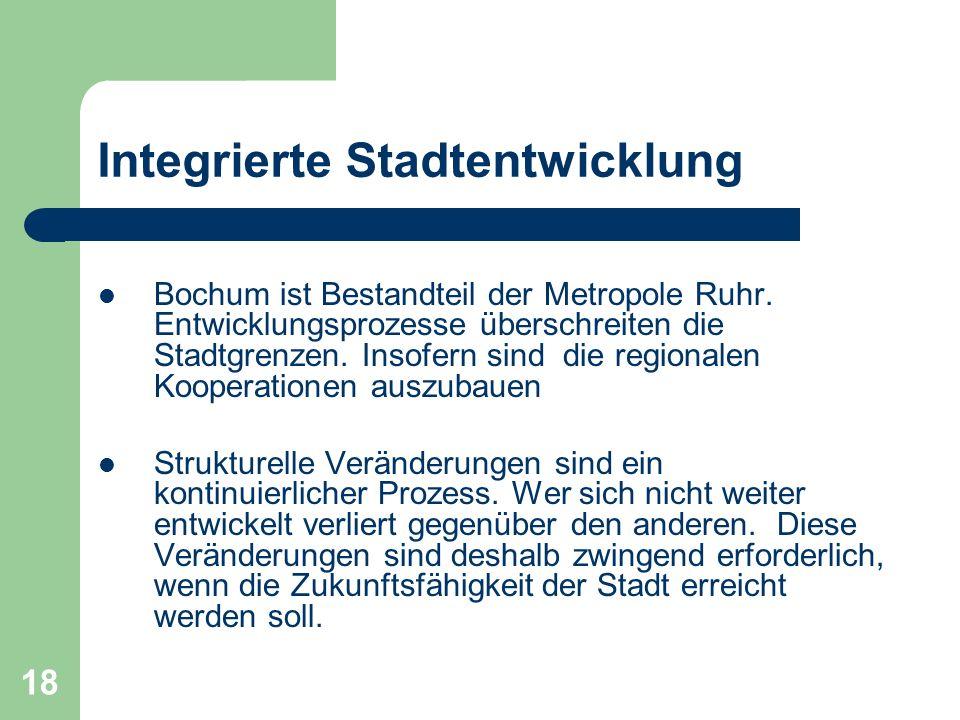 19 Integrierte Stadtentwicklung Mit dem Beschluss des Rates im Jahre 2005 und der Vorstellung des Konzeptes in den Ausschüssen, Vertretungen und Beiräten ist der Prozess der Integrierten Stadtentwicklung auch politisch eingeleitet.