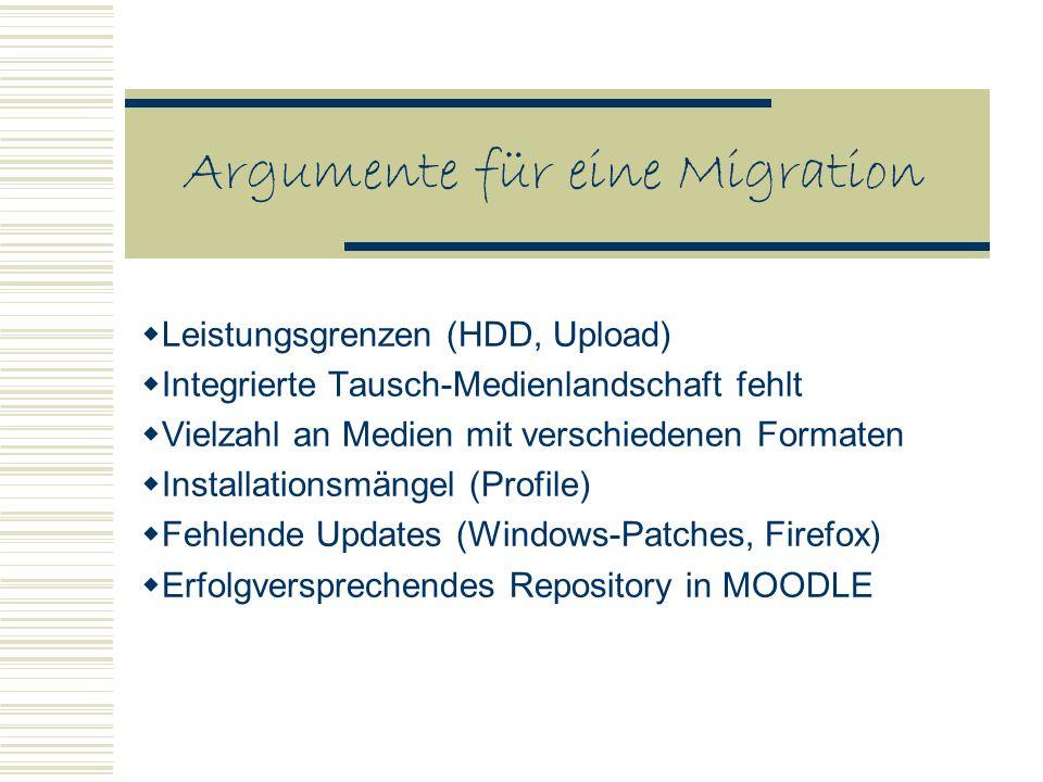 Argumente für eine Migration Leistungsgrenzen (HDD, Upload) Integrierte Tausch-Medienlandschaft fehlt Vielzahl an Medien mit verschiedenen Formaten Installationsmängel (Profile) Fehlende Updates (Windows-Patches, Firefox) Erfolgversprechendes Repository in MOODLE