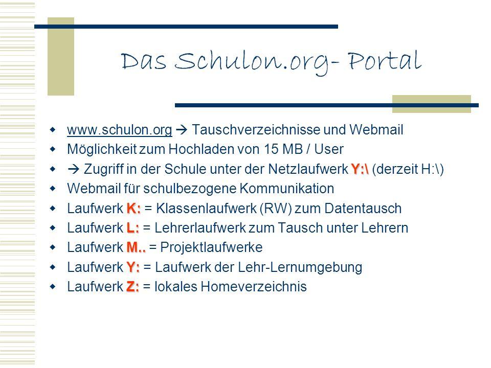 Das Schulon.org- Portal www.schulon.org Tauschverzeichnisse und Webmail www.schulon.org Möglichkeit zum Hochladen von 15 MB / User Y:\ Zugriff in der Schule unter der Netzlaufwerk Y:\ (derzeit H:\) Webmail für schulbezogene Kommunikation K: Laufwerk K: = Klassenlaufwerk (RW) zum Datentausch L: Laufwerk L: = Lehrerlaufwerk zum Tausch unter Lehrern M..