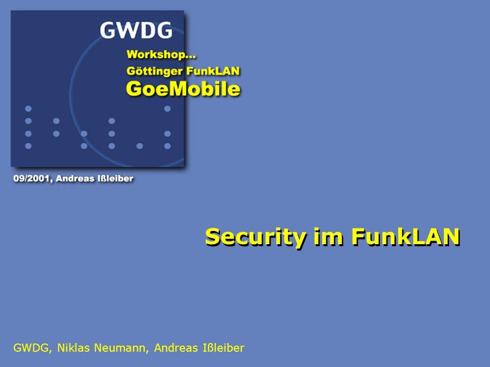 2 Agenda: VPN-Protokolle Wired Equivalent Privacy (WEP) MS Point-to-Point Tunneling Protocol (MS-PPTP) Internet Protocol Security (IPSec) Protokollunabhängige Sicherheit Service Set Identifier (SSID) Media Access Control (MAC) Address Filtering Sicherheitsmodell GoeMobile Bausteine des Sicherheitsmodells Beteiligte Systeme im GoeMobile Übersicht über GoeMobile