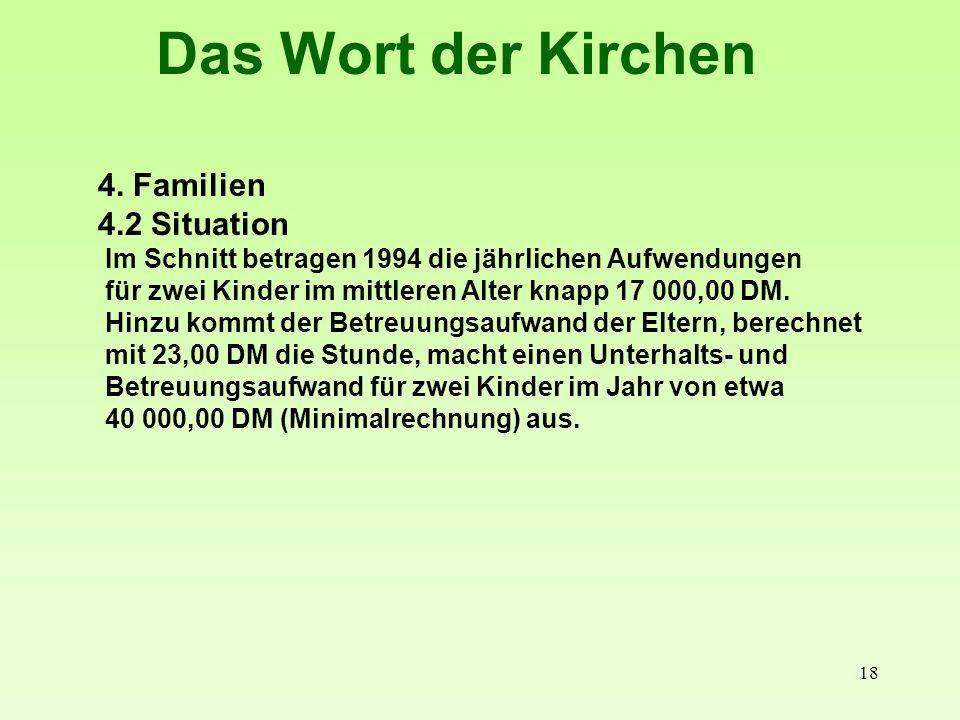 19 Das Wort der Kirchen 4. Familien 4.2 Situation Bis 1500 - 1500-2600- über 2500 DM