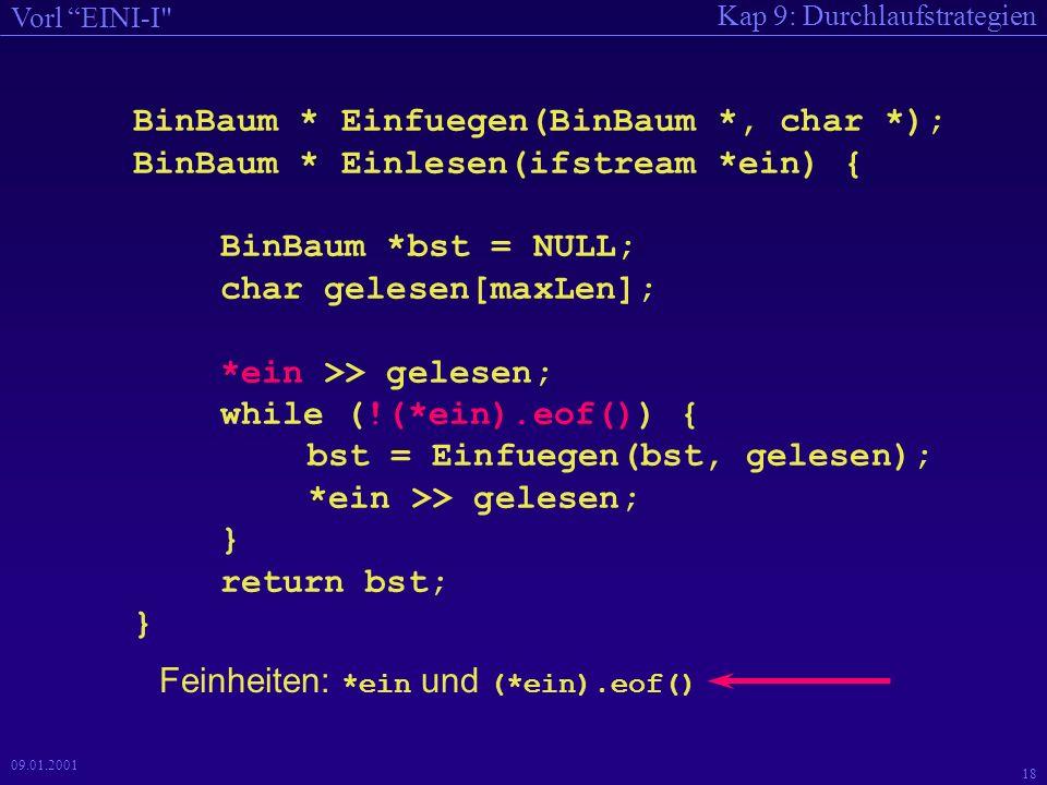 Kap 9: Durchlaufstrategien Vorl EINI-I 18 09.01.2001 BinBaum * Einfuegen(BinBaum *, char *); BinBaum * Einlesen(ifstream *ein) { BinBaum *bst = NULL; char gelesen[maxLen]; *ein >> gelesen; while (!(*ein).eof()) { bst = Einfuegen(bst, gelesen); *ein >> gelesen; } return bst; } Feinheiten: *ein und (*ein).eof()