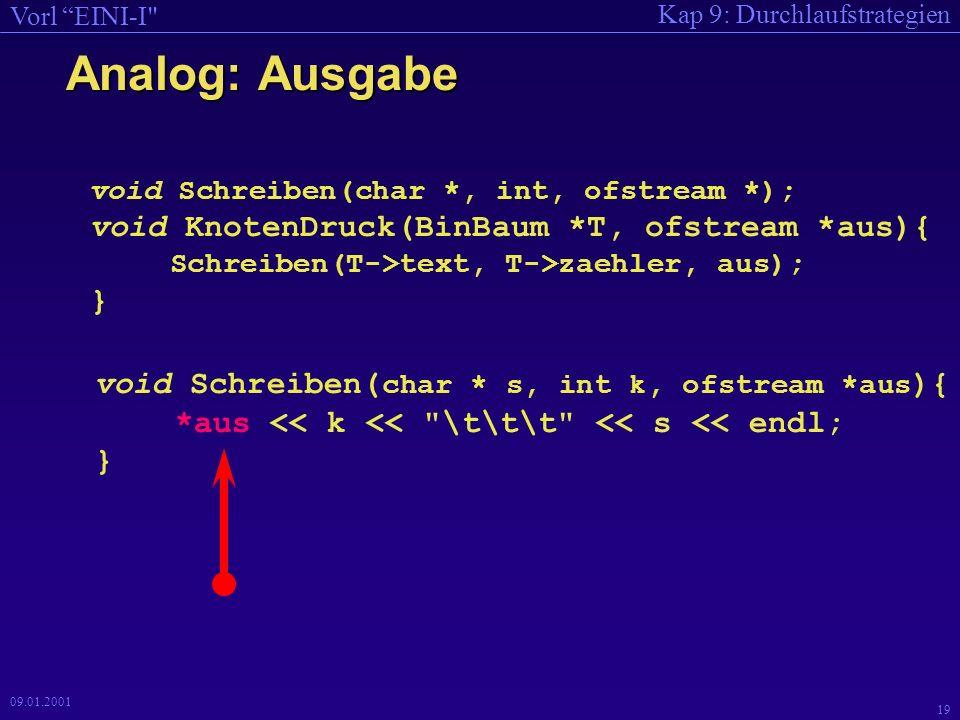 Kap 9: Durchlaufstrategien Vorl EINI-I 19 09.01.2001 Analog: Ausgabe void Schreiben(char *, int, ofstream *); void KnotenDruck(BinBaum *T, ofstream *aus){ Schreiben(T->text, T->zaehler, aus); } void Schreiben( char * s, int k, ofstream *aus ){ *aus << k << \t\t\t << s << endl; }