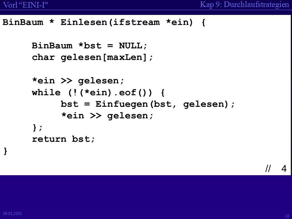 Kap 9: Durchlaufstrategien Vorl EINI-I 23 09.01.2001 BinBaum * Einlesen(ifstream *ein) { BinBaum *bst = NULL; char gelesen[maxLen]; *ein >> gelesen; while (!(*ein).eof()) { bst = Einfuegen(bst, gelesen); *ein >> gelesen; }; return bst; } // 4