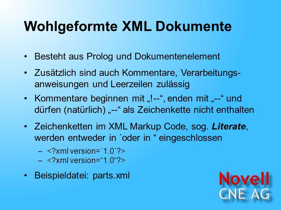 Minimalistische XML Dokumente Konform zum XML-Standard Ein minimalistisches Dokument