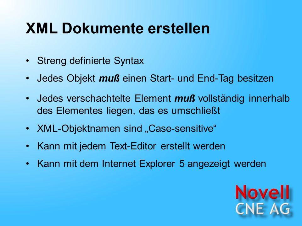 XML Dokumente anzeigen Der XML-Parser (ein Teil des XML- Prozessors) analysiert das Dokument und erkennt Syntaxfehler.