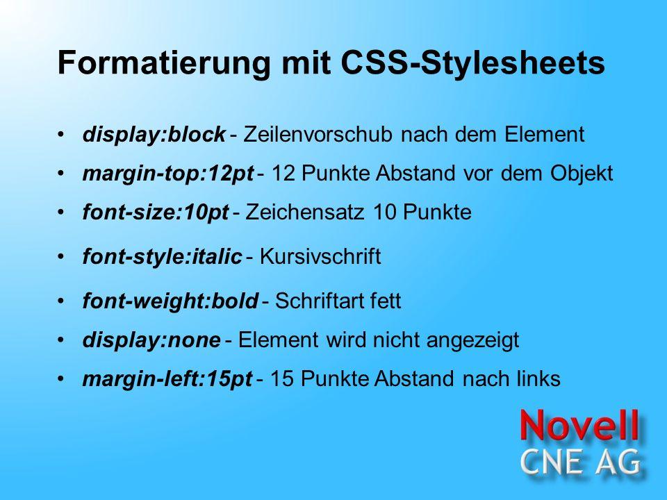 XML Dokumente anzeigen Stylesheet-Verknüpfungen /* Dateiname: Inventory01.css */ BOOK {display:block; margin-top:12pt; font-size:10pt} TITLE {font-style:italic} AUTHOR {font-weight:bold} /* Dateiname: Inventory01.css */ BOOK {display:block; margin-top:12pt; font-size:10pt} TITLE {font-style:italic} AUTHOR {font-weight:bold} The Adventures of Huckleberry Finn Mark Twain Taschenbuch 336 DM 12,75...