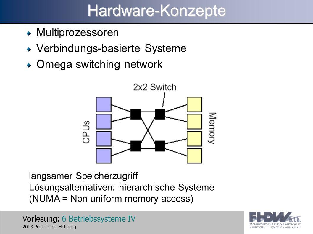 Vorlesung: 7 Betriebssysteme IV 2003 Prof.Dr. G.
