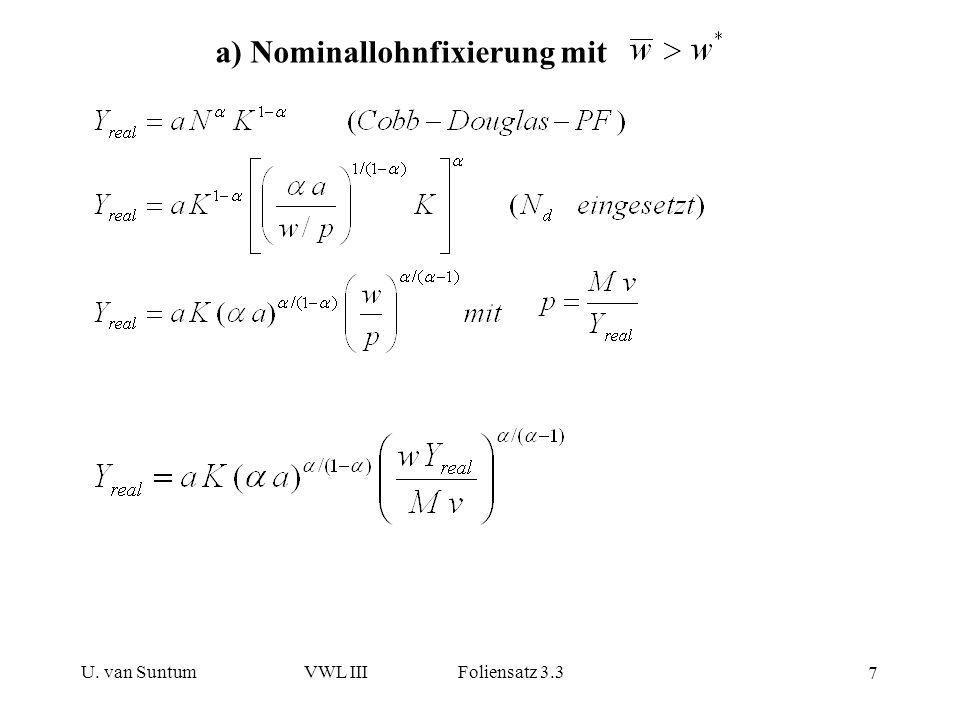 U. van SuntumVWL III Foliensatz 3.3 8 Daraus lassen sich sukzessive p, w/p, N s und N d errechnen: