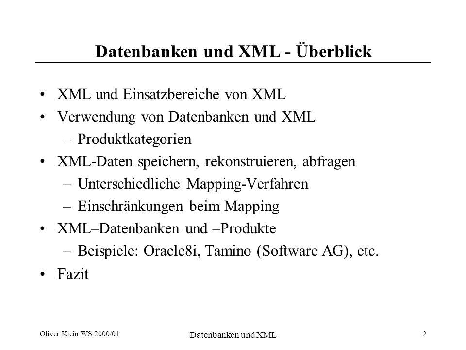 Oliver Klein WS 2000/01 Datenbanken und XML 3 XML – Extensible Markup Language Beschreibung von –unstrukturierten –semistrukturierten Daten Spezifikation durch DTD (Document Type Definition) –Datenschema –kontextfreie Grammatik The XML companion Bradley Neil