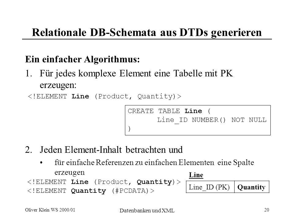 Oliver Klein WS 2000/01 Datenbanken und XML 21 Relationale DB-Schemata aus DTDs generieren für mehrfache Elemente ( * ) abhängige Tabellen mit FK erzeugen für Referenzen zu komplexen Elementen Fremdschlüssel erzeugen CREATE TABLE Product ( Product_ID NUMBER() NOT NULL, Line_ID NUMBER() FK ) für PCDATA in komplexen Elementen abhängige Tabelle mit FK erzeugen optionale Elemente ( .