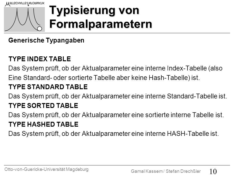 Otto-von-Guericke-Universität Magdeburg Gamal Kassem / Stefan Drechßler 11 Funktionsbausteine Funktionsbausteine Funktionsbausteine sind Prozeduren, die nur innerhalb spezieller ABAP-Programme, den sogenannten Funktionsgruppen vom Typ F, definiert, aber aus allen ABAP-Programmen aufgerufen werden können.