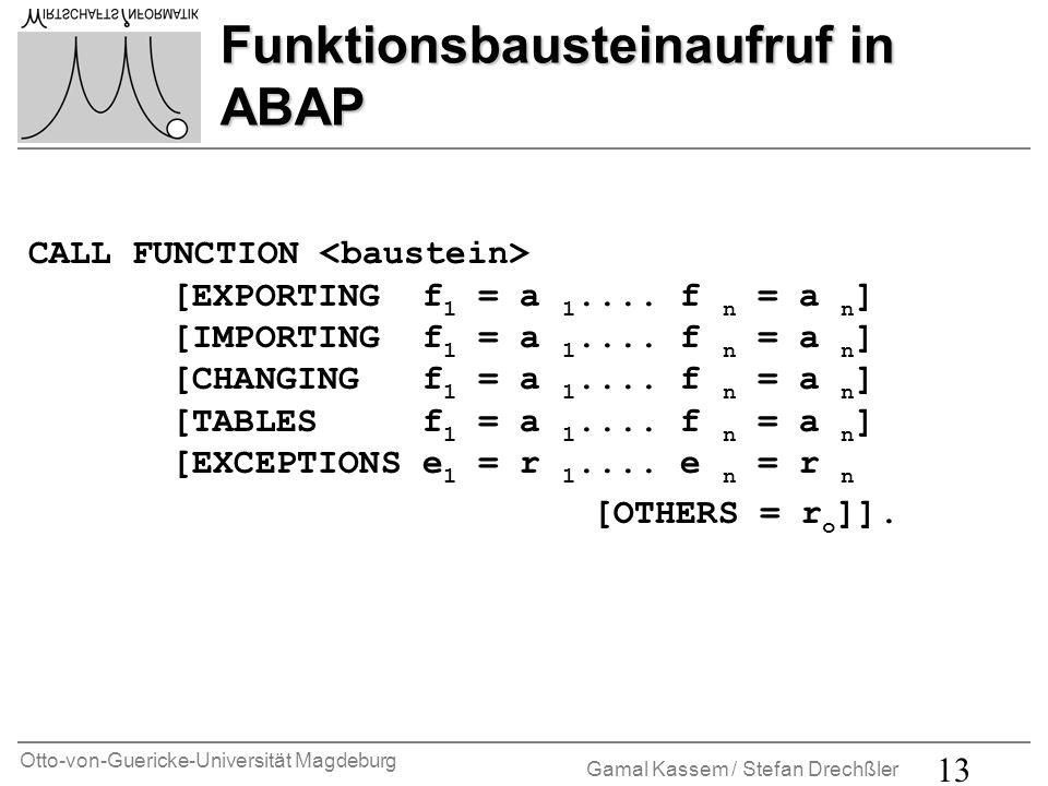 Otto-von-Guericke-Universität Magdeburg Gamal Kassem / Stefan Drechßler 14 Übung 1 FORM-Schnittstelle Erstellen Sie eine Report ZFORMINTAB_**, der für eine vom Anwender einzugebende Depotnummer (s.