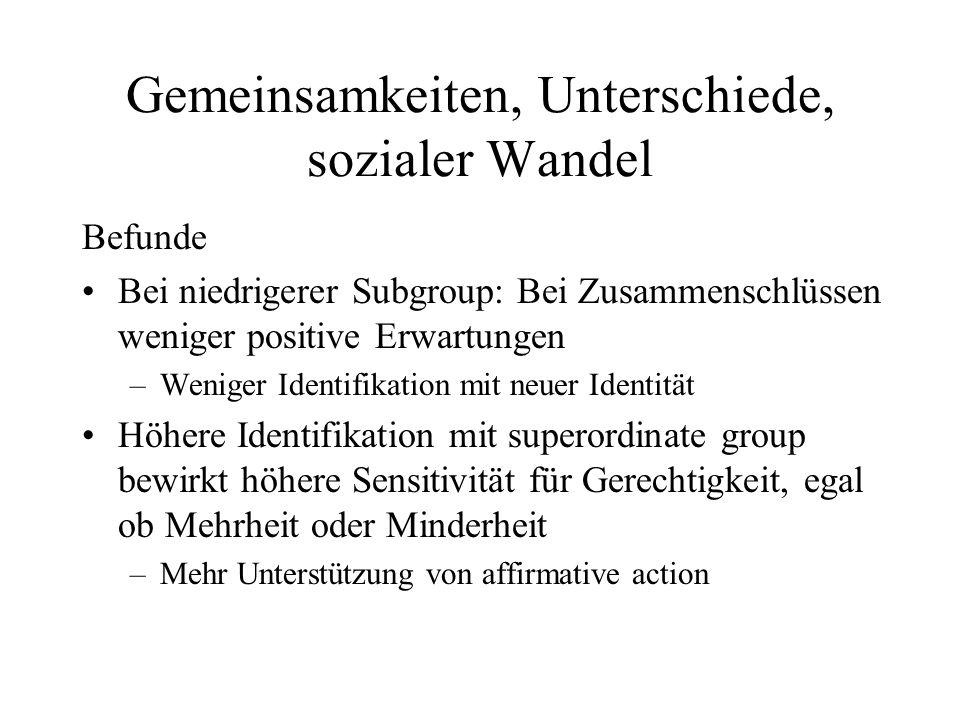 Unterschiedliche Präferenzen Assimilation vs.Integration Wünsche von Minderheiten vs.