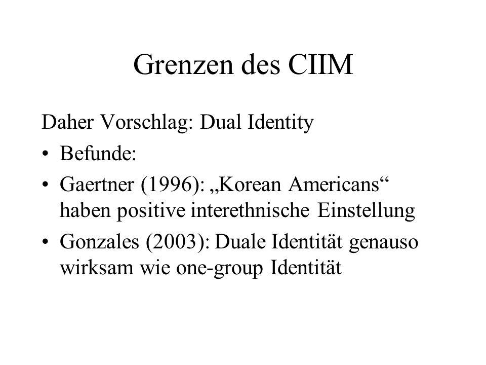 Grenzen des CIIM Allerdings: Duale Identität kann divergierende Effekte haben: Ist die übergeordnete Identität sehr relevant für die untergeordneten, so kann es durch Prototypizitätswettbewerb zu mehr bias kommen.