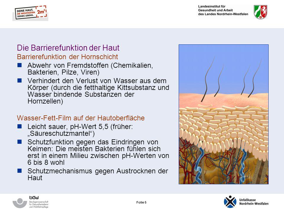 Folie 5 Die Barrierefunktion der Haut Barrierefunktion der Hornschicht Abwehr von Fremdstoffen (Chemikalien, Bakterien, Pilze, Viren) Verhindert den Verlust von Wasser aus dem Körper (durch die fetthaltige Kittsubstanz und Wasser bindende Substanzen der Hornzellen) Wasser-Fett-Film auf der Hautoberfläche Leicht sauer, pH-Wert 5,5 (früher: Säureschutzmantel) Schutzfunktion gegen das Eindringen von Keimen: Die meisten Bakterien fühlen sich erst in einem Milieu zwischen pH-Werten von 6 bis 8 wohl Schutzmechanismus gegen Austrocknen der Haut
