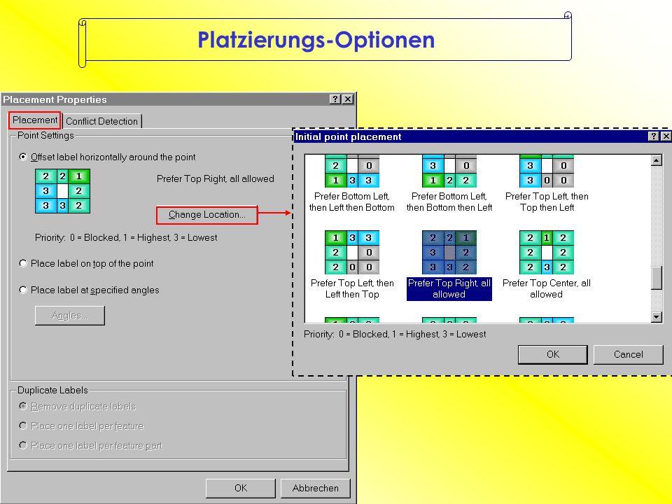 Prioritäten innerhalb eines Layers Beschriftung überlappt das feature nicht Beschriftung überlappt das feature