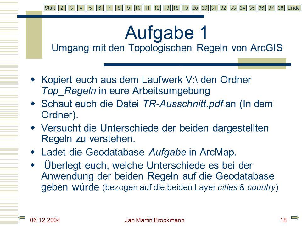 7 2345679810111213181920303132333435363738EndeStart 06.12.2004 Jan Martin Brockmann19 Topologien in ArcGIS Grundsätzliches Topologien können nur in Geodatabases angelegt werden.