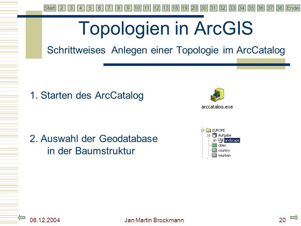 7 2345679810111213181920303132333435363738EndeStart 06.12.2004 Jan Martin Brockmann21 Topologien in ArcGIS Schrittweises Anlegen einer Topologie im ArcCatalog 3.