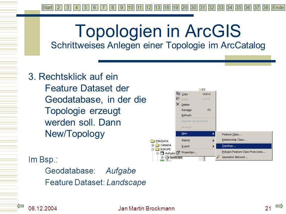 7 2345679810111213181920303132333435363738EndeStart 06.12.2004 Jan Martin Brockmann22 Topologien in ArcGIS Schrittweises Anlegen einer Topologie im ArcCatalog 4.