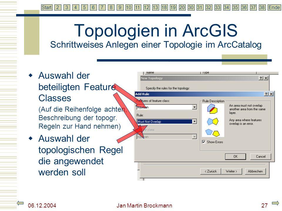 7 2345679810111213181920303132333435363738EndeStart 06.12.2004 Jan Martin Brockmann28 Topologien in ArcGIS Schrittweises Anlegen einer Topologie im ArcCatalog Erneutes klicken auf Add Rule ermöglicht es noch weitere regeln in die aktuelle Topologie einzubinden Zusammenfassung der getroffenen Einstellungen: Name: Landscape_Topology Cluster Tolerance: 0,0000206051 Feature Classes: mjurban, Rank:1 Rules: mjurban - Must Not overlap