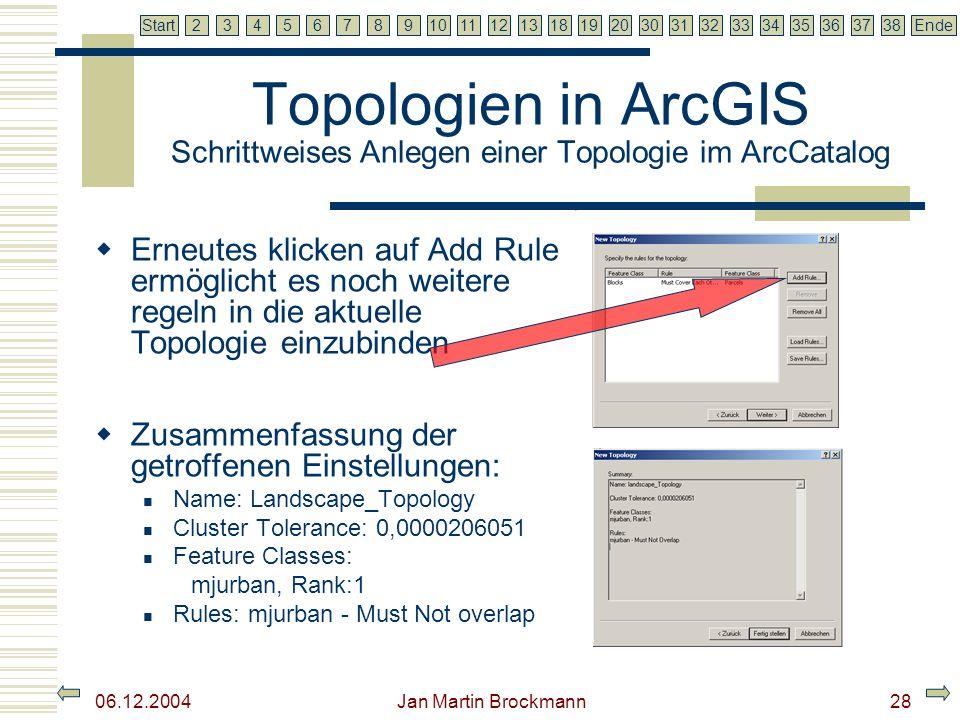 7 2345679810111213181920303132333435363738EndeStart 06.12.2004 Jan Martin Brockmann29 Topologien in ArcGIS Schrittweises Anlegen einer Topologie im ArcCatalog Fertig, die Topologie wird angelegt und ist nun im ArcCatalog zu finden Die Topologie muss mit validate aktiviert werden.