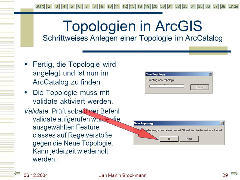 7 2345679810111213181920303132333435363738EndeStart 06.12.2004 Jan Martin Brockmann30 Topologien in ArcGIS Und jetzt.
