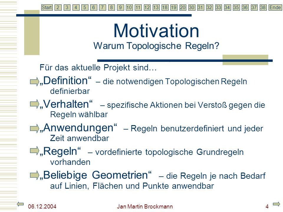 7 2345679810111213181920303132333435363738EndeStart 06.12.2004 Jan Martin Brockmann5 Motivation Warum Topologie in ArcGIS.