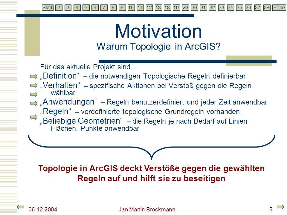 7 2345679810111213181920303132333435363738EndeStart 06.12.2004 Jan Martin Brockmann6 Motivation Warum Topologie in ArcGIS.