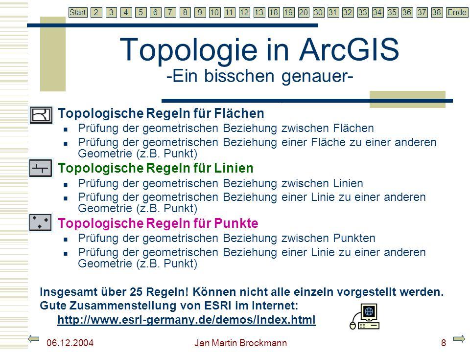 7 2345679810111213181920303132333435363738EndeStart 06.12.2004 Jan Martin Brockmann9 Topologische Regeln für Flächen Ein Bsp.