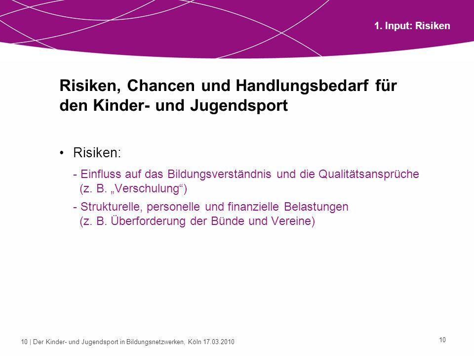 11 | Der Kinder- und Jugendsport in Bildungsnetzwerken, Köln 17.03.2010 11 Risiken, Chancen und Handlungsbedarf für den Kinder- und Jugendsport Chancen: - Organisationsentwicklung (z.