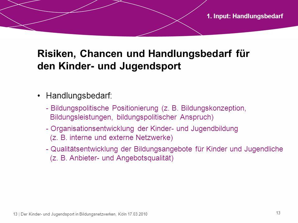 14 | Der Kinder- und Jugendsport in Bildungsnetzwerken, Köln 17.03.2010 14 2.