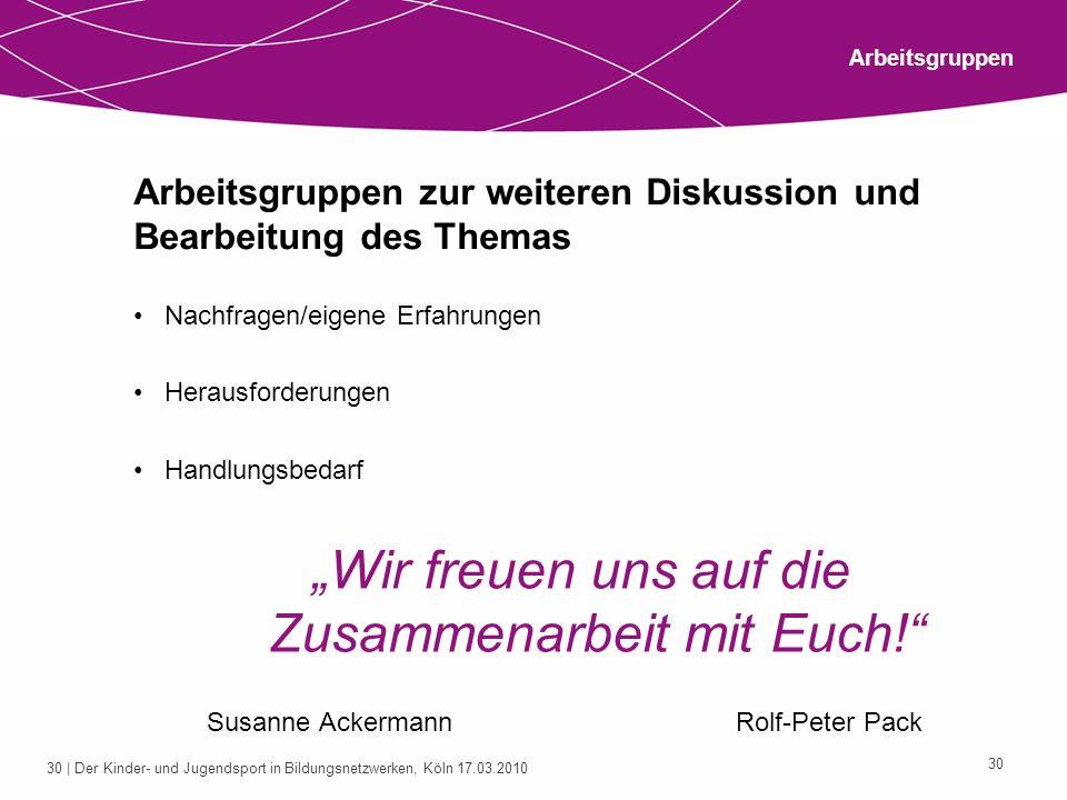 31 | Der Kinder- und Jugendsport in Bildungsnetzwerken, Köln 17.03.2010 31 Vielen Dank für Eure Aufmerksamkeit