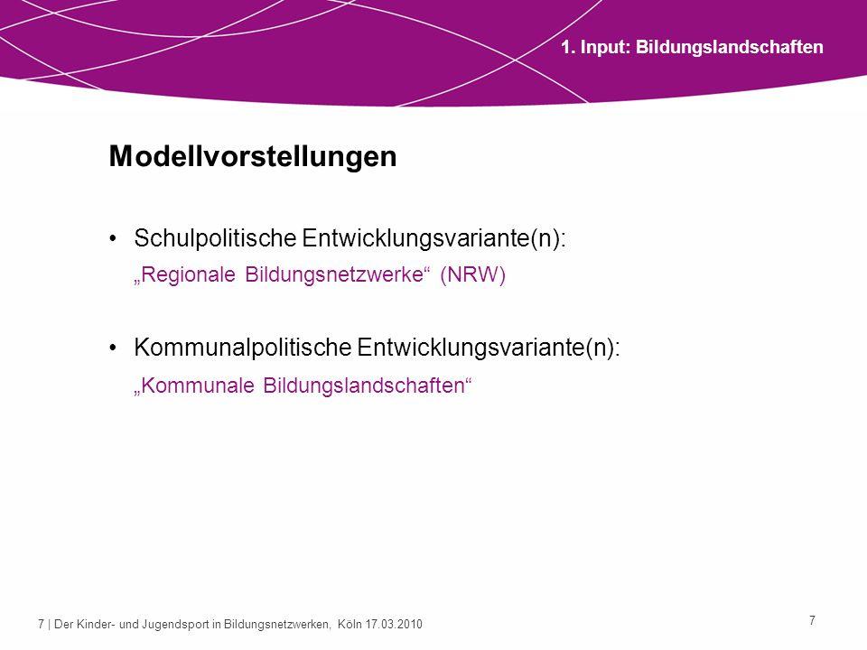 8 | Der Kinder- und Jugendsport in Bildungsnetzwerken, Köln 17.03.2010 8 1.
