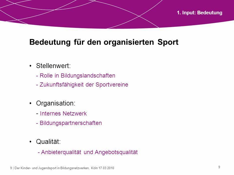 10 | Der Kinder- und Jugendsport in Bildungsnetzwerken, Köln 17.03.2010 10 Risiken, Chancen und Handlungsbedarf für den Kinder- und Jugendsport Risiken: - Einfluss auf das Bildungsverständnis und die Qualitätsansprüche (z.
