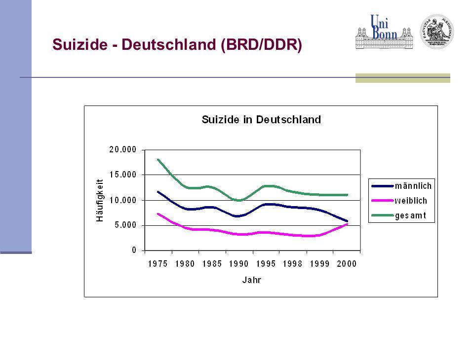Suizidversuche - Deutschland Im Gegensatz zu Suiziden werden Suizidversuche aus daten-schutzrechtlichen Gründen nicht mehr erfasst.
