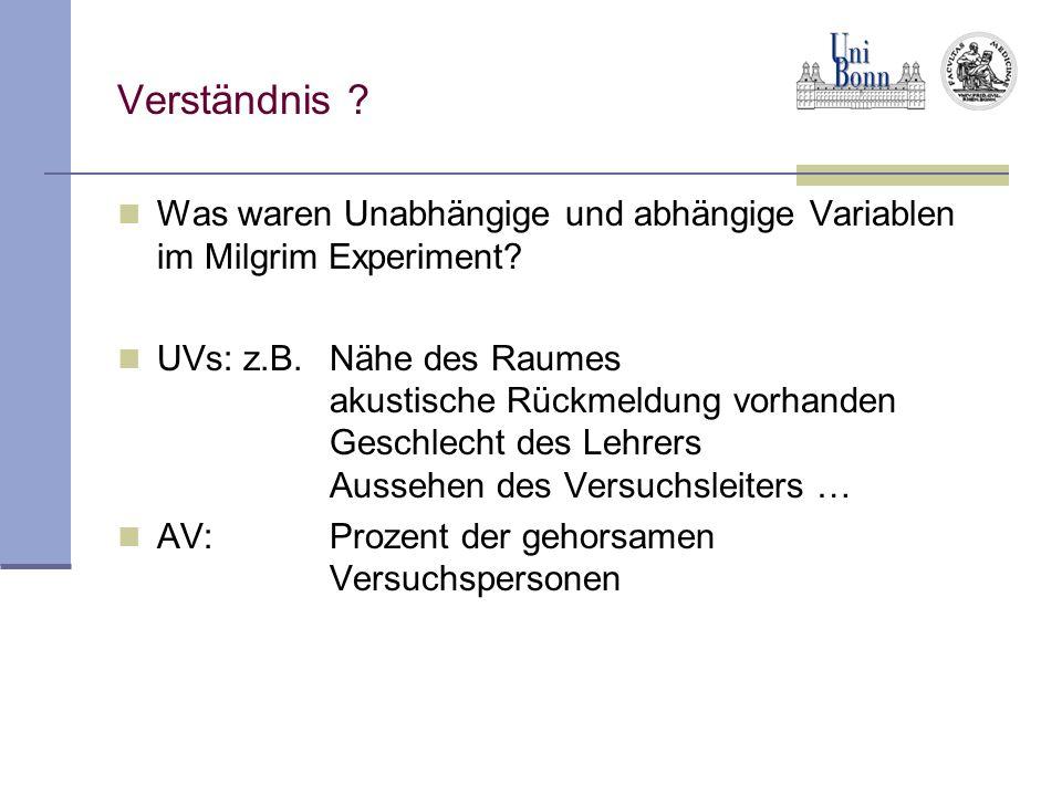 Experiment vs.Quasiexperiment Nicht immer kann man die UV willkürlich manipulieren z.B.