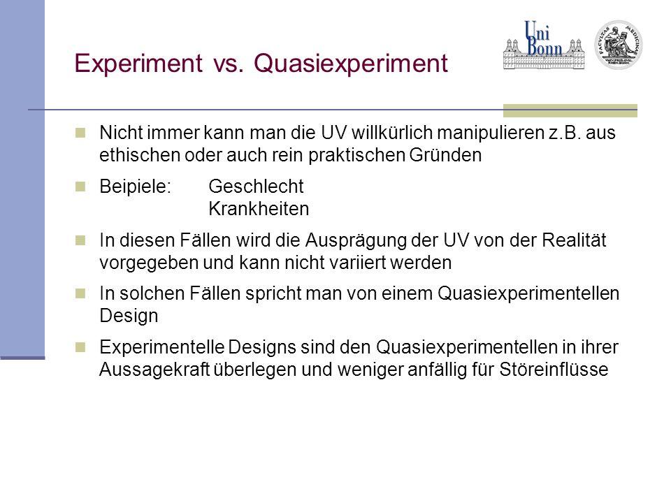 Stör- und Moderatorvariablen Oft übt nicht nur die UV einen Einfluss auf die AV aus, sondern weitere dritte Variablen, die für die Hypothese nicht relevant sind, aber die Ergebnisse des Experimentes verfälschen können Bei solchen Variablen spricht man von Stör- bzw.