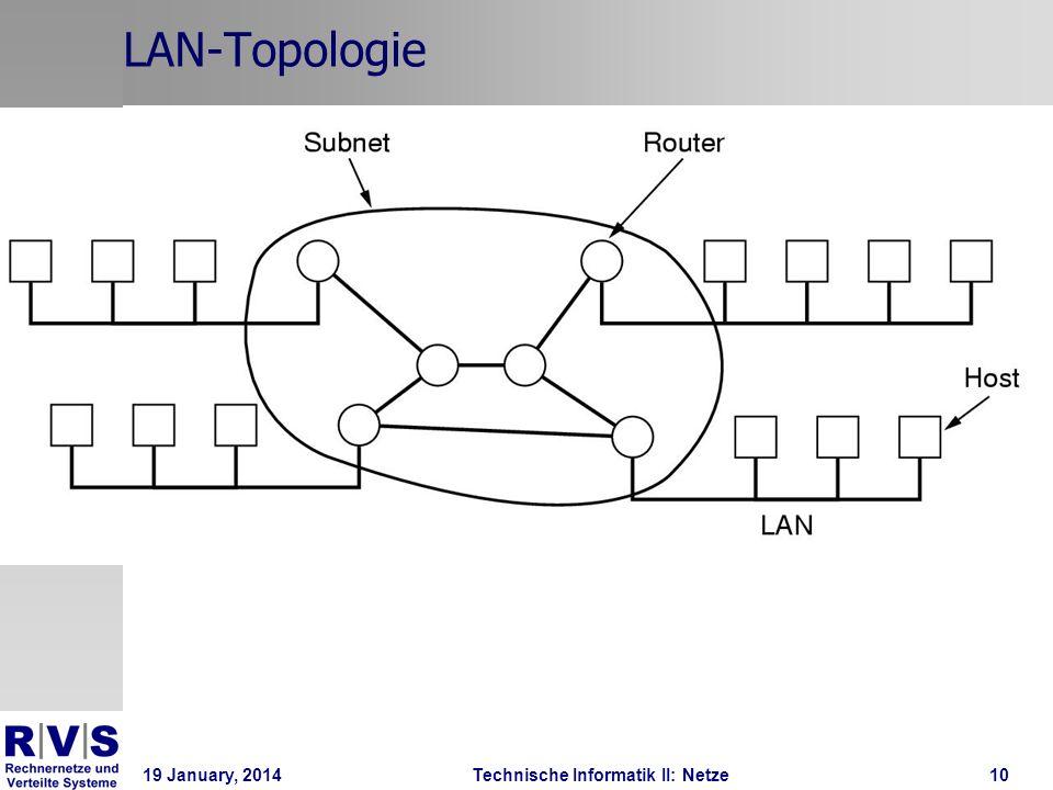19 January, 2014Technische Informatik II: Netze11 LAN-topologie Unterschiedliche Topologien in der Wirklichkeit Stern ( Star ) für z.b., 10/100BaseT Ethernet ( Twisted Pair Verkabelung, wie das Telefon) Bus für 10Base 2 Ethernet (Coaxiale Verkabelung, wie das Ferhseher-Kabel) Ring für SNA (altmodische IBM Netztechnik) Doppelring für FDDI (Fiberoptik) Usw