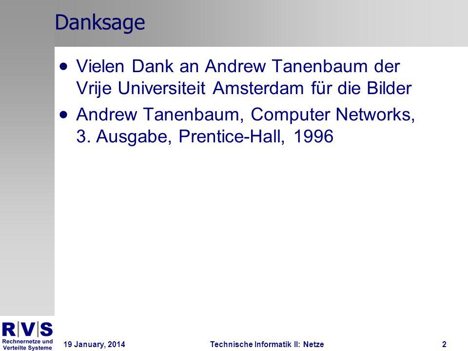19 January, 2014Technische Informatik II: Netze3 Client-Server Modell Services bzw.