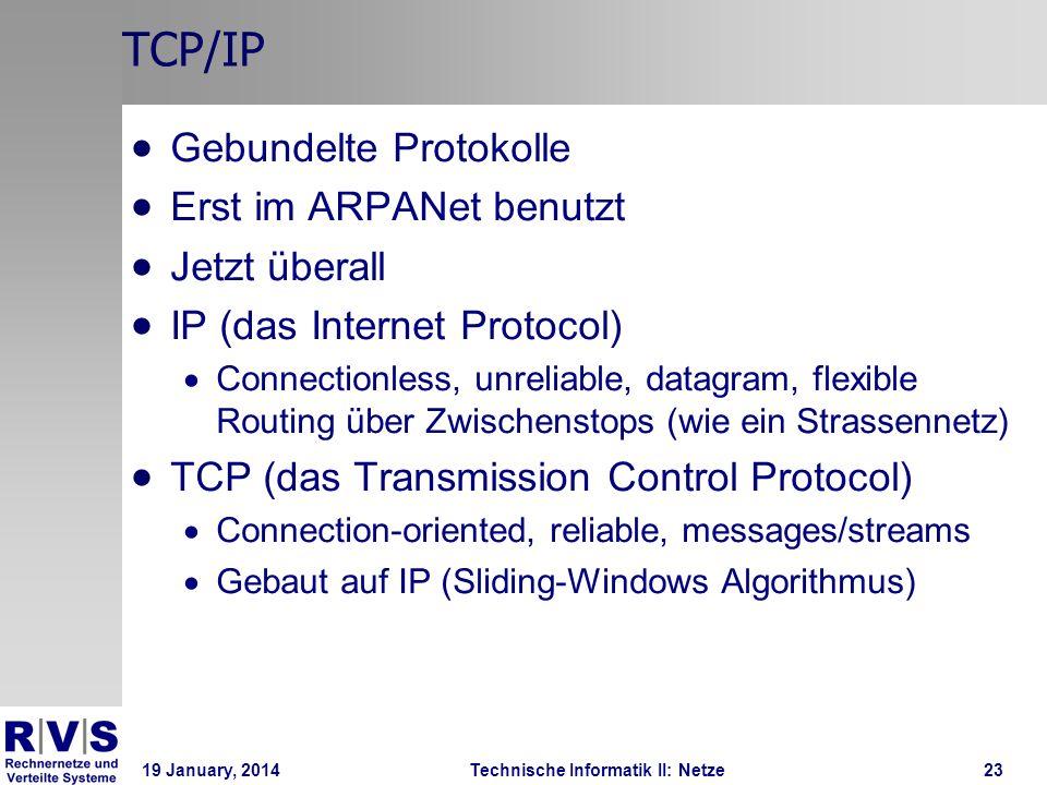 19 January, 2014Technische Informatik II: Netze24 TCP/IP im Vergleich zu OSI