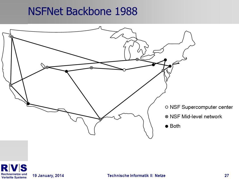 19 January, 2014Technische Informatik II: Netze28 Von LAN zu Internetworking Man verbindet LANS über Hubs (Verlängerungsstücke/Verstärker) Switches (gerichtete Kommunikation zwischen mehrere Netzteile/Netze) Router (benutzte IP-Adressen, um Pakete an die entsprechende Maschine weiterzuleiten) Zwischen Router könnten eine andere Kommunikationstechnik als TCP/IP ATM FDDI, andere Fiberoptische Technik Mikrowelle/Funk Switched Multimegabit Data Service (das erste: Bellcore 1980 s)