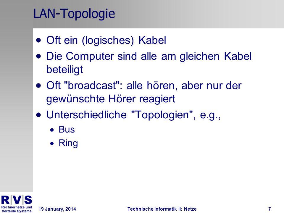 19 January, 2014Technische Informatik II: Netze8 LAN-Topologie