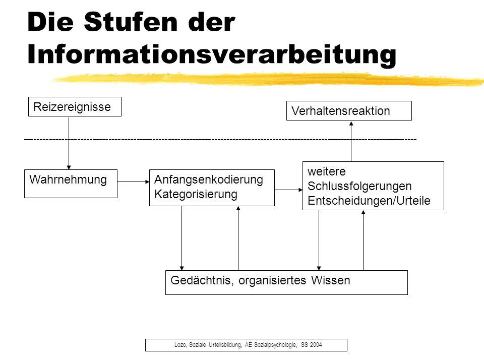 Wissensstrukturen: Terminologie 1 Lozo, Soziale Urteilsbildung, AE Sozialpsychologie, SS 2004 ä Kategorie Gruppierung von zwei oder mehr unterscheidbaren Objekten, die ähnlich behandelt werden.