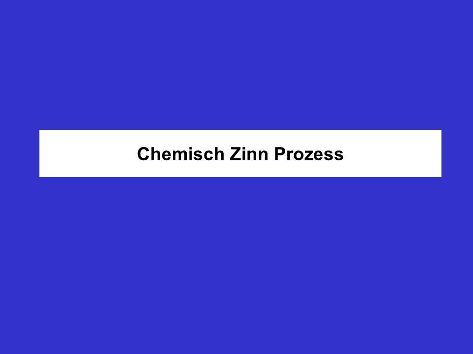 Chemisch - Zinn ist eine Austauschreaktion Reaktionsmechanismus: 2 Cu + Sn 2+ 2 Cu + + Sn Kupfer geht in Lösung und Zinn wird abgeschieden Zwischen Kupfer und Zinn bildet sich eine dünne intermetallische Phase (Bronze) aus Die Funktionsweise