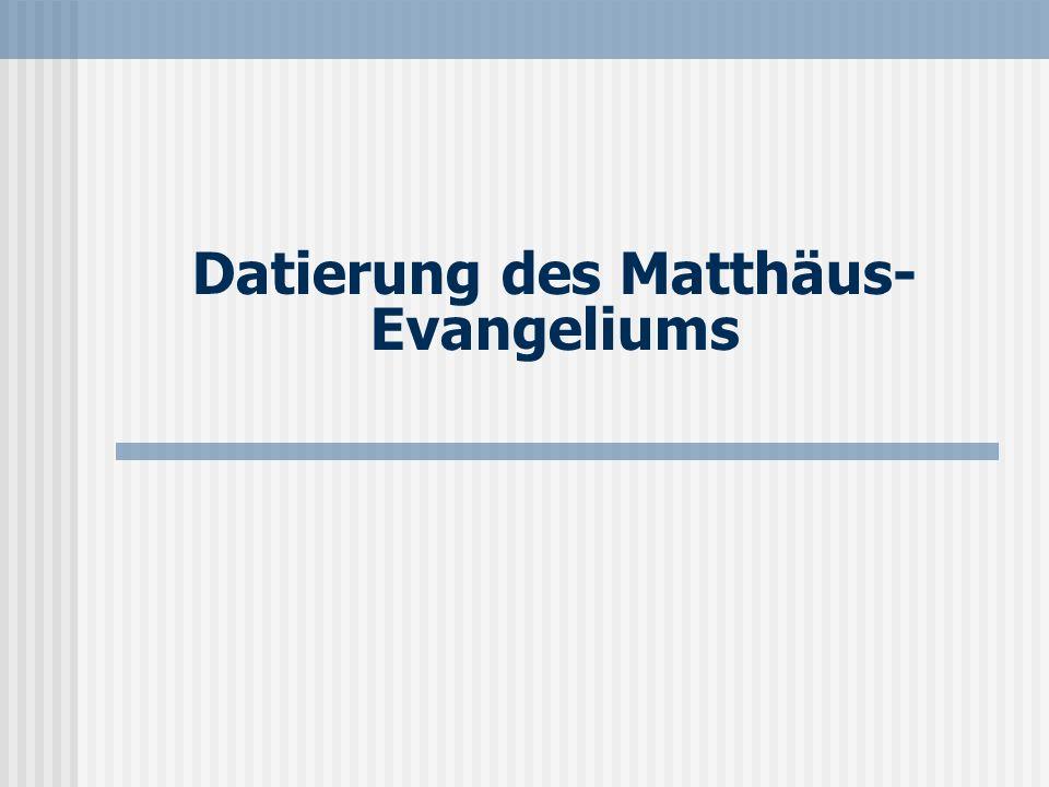 Seite 17 Datierung des Evangeliums Das Evangelium legt nahe, daß eine Niederschrift einige Zeit nach den Geschehnissen erfolgt ist: Mt 27,7-8 spricht von einem bestimmten Brauch, der sich bis auf den heutigen Tag erhalten hat.